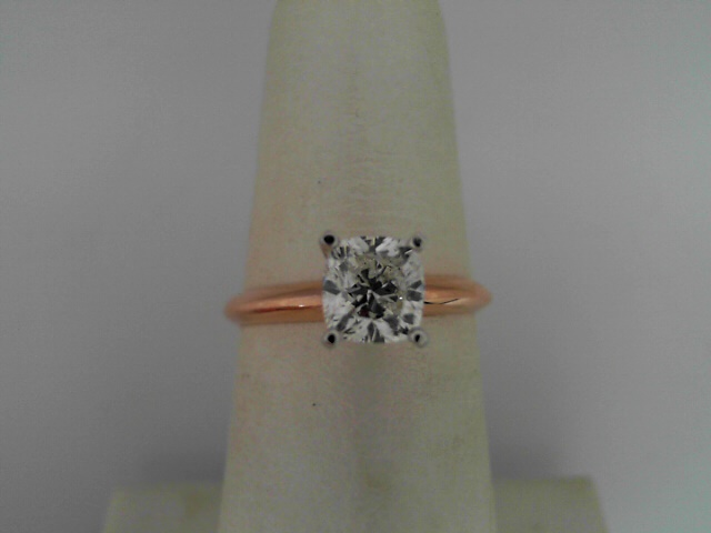 14 Kt Rose And White Gold 1.08 Ct Cushion Brilliant Cut Diamond E SI1 Solitaire Engagement Ring  EGL Certificate