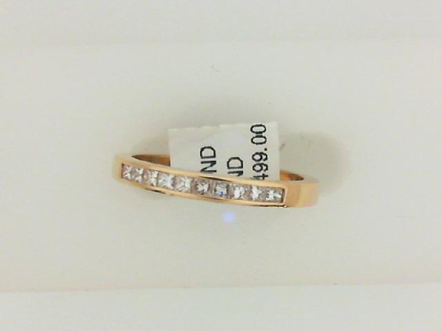 14 Karat Yellow Gold Channel Set Band With 10=0.20Tw Princess Diamonds