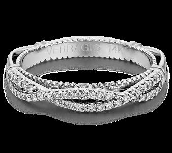 Verragio: 14 Karat White Gold Parisian Wedding Band With 0.25Tw Round Diamonds