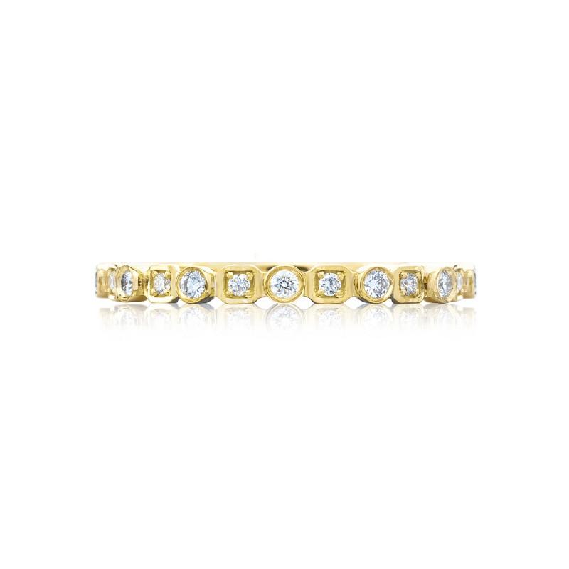 Tacori: 18 Karat Yellow Gold Sculpted Crescent  Wedding Band With 0.17tw Round Diamonds   Size: 6.5