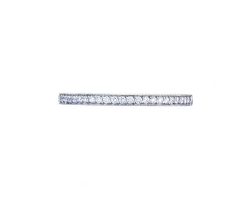 Tacori: 18 Karat White Gold Sculpted Crescent Wedding Band With 0.17Tw Round Diamonds Ring Size: 6.5