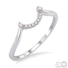 14 Karat White Gold Shadow Band Wedding Band With 9=0.05Tw Round Diamonds Ring Size: 6.5