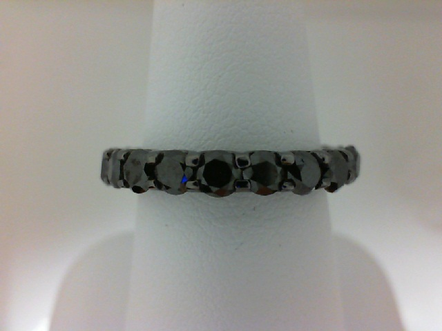 Black Rhodium Plated 14 Karat Gold  Eternity Ring With 21=3.30Tw Round Black Diamonds Serial #: 490797