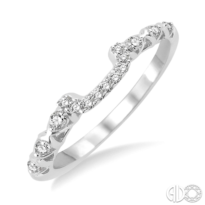 14 Karat White Gold Diamond Wedding Band 15=0.15tw Round H/I SI3-I1 Diamonds