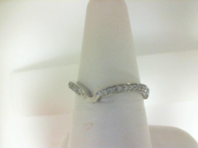 14 Karat White Gold Shadow Band Wedding Band With 22=0.14Tw Round Diamonds