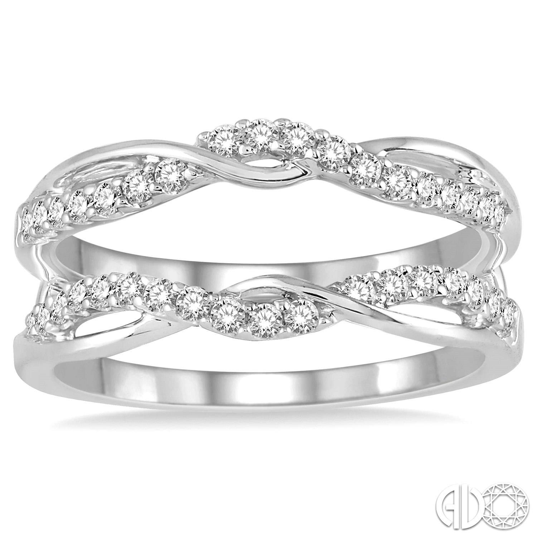 14 Karat White Gold Enhancer With 36=0.39tw Round H/I SI2-3 Diamonds Ring Size: 6.5