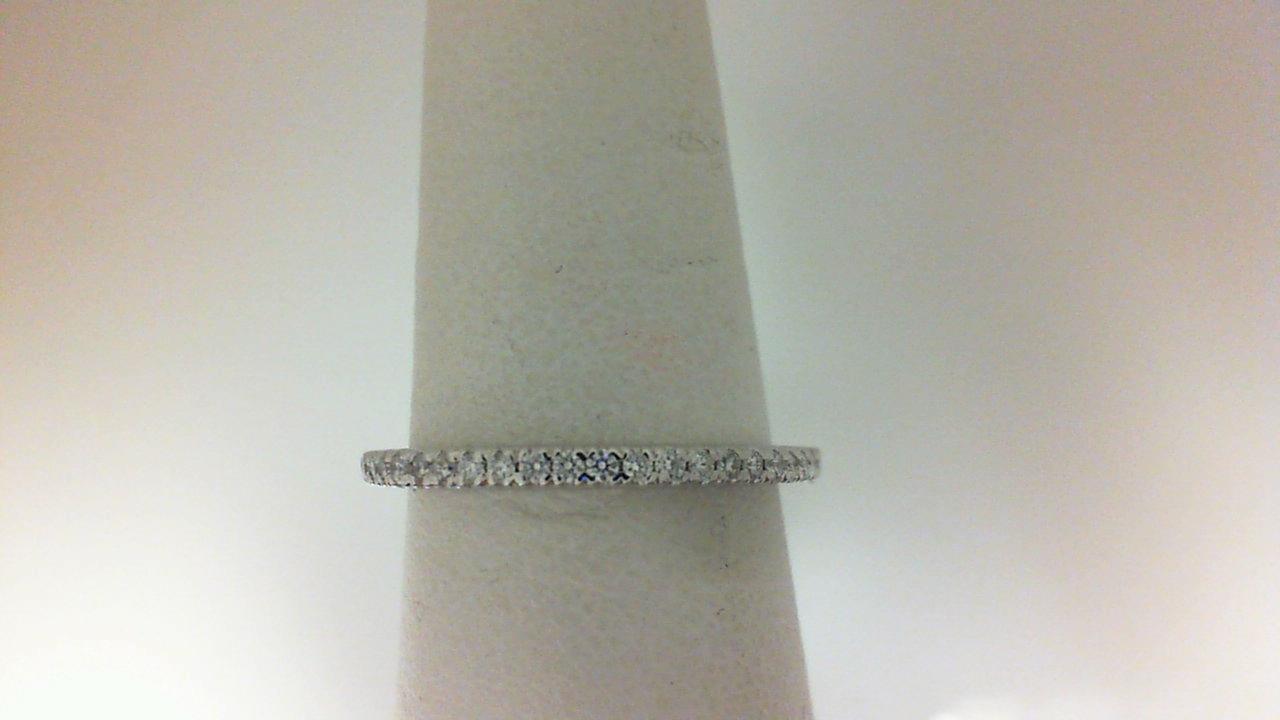 14 Karat White Gold Wedding Band With 22=0.18Tw Round Diamonds