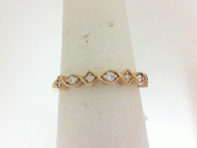 14 Karat Yellow Gold Wedding Band With 7=0.09Tw Round Diamonds
