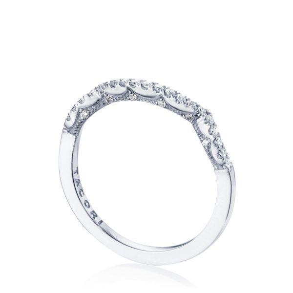 Tacori: 14 Karat White Gold  Coastal Crescent Wedding Band With 33=0.17Tw Round Diamonds Ring Size: 6.5
