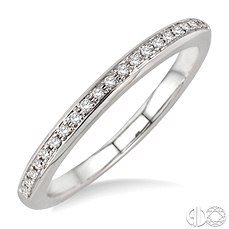 14 Karat White Gold Wedding Band With 21=0.10Tw Round Diamonds
