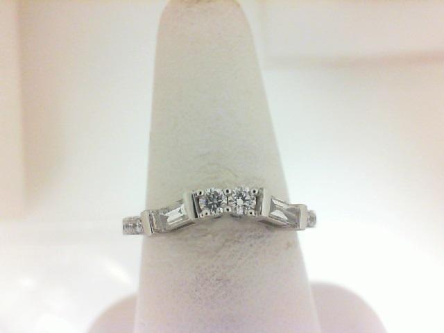 14 Karat White Gold Band With 2=0.19Tw Baguette Diamonds, 12=0.22Tw Round Diamonds