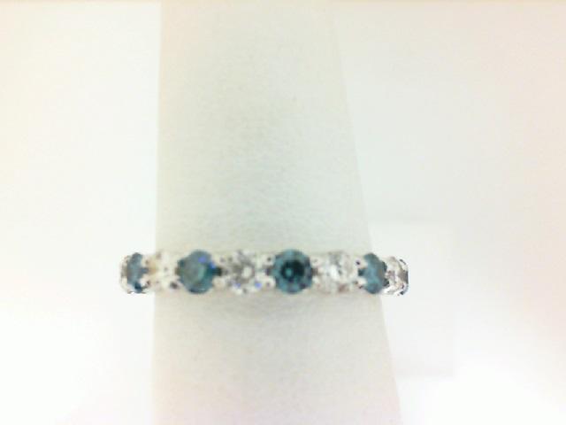 14 Karat White Gold  Band With 9=0.68Tw blue & white Round Diamonds