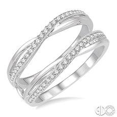 14 Karat White Gold Enhancer Wrap/Guard With 50=0.25 Tw Round H/I Si3-I1 Diamonds