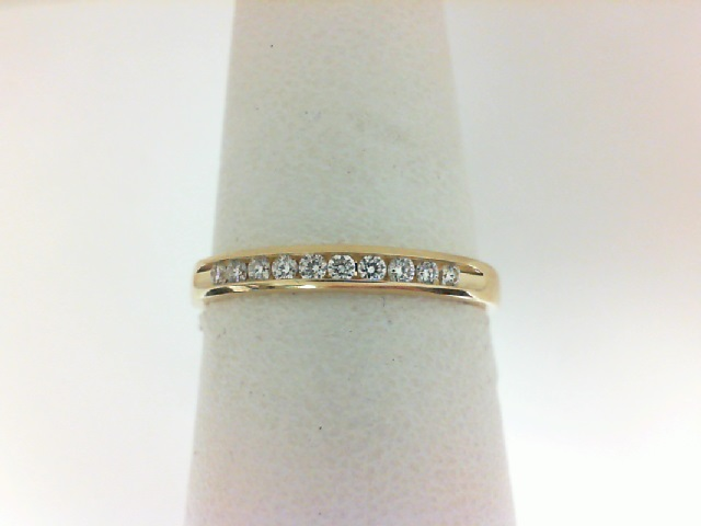 14 Karat Yellow Gold  Channel Set Wedding Band With 0.10ctw Round Diamonds