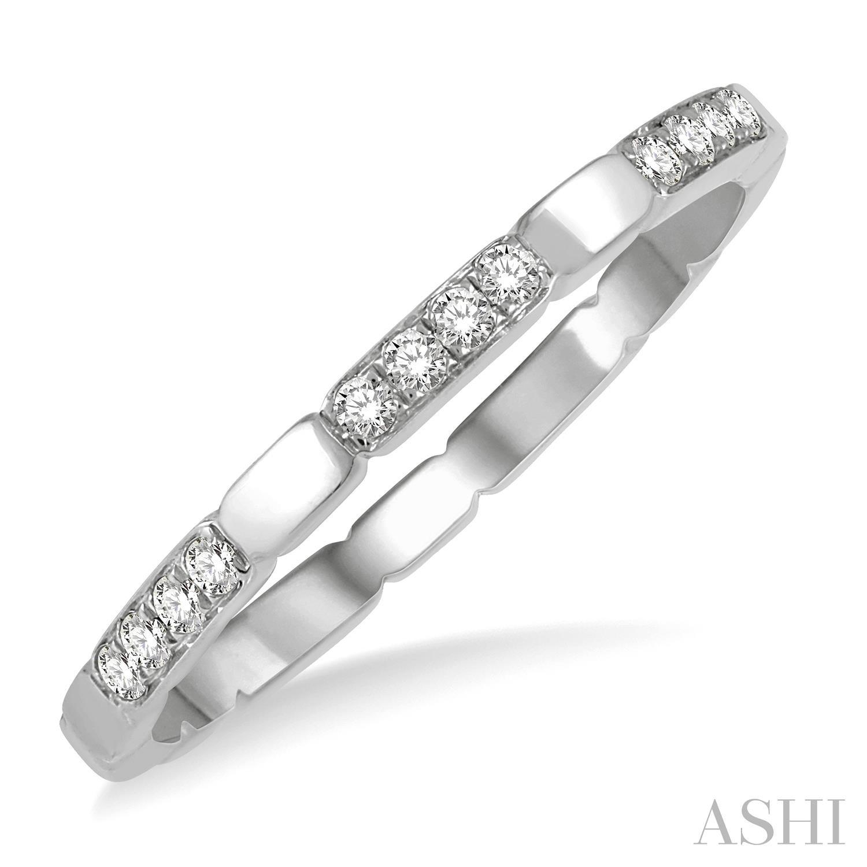 14 Karat White Band With 0.10Tw Round Diamonds Ring Size: 6.5