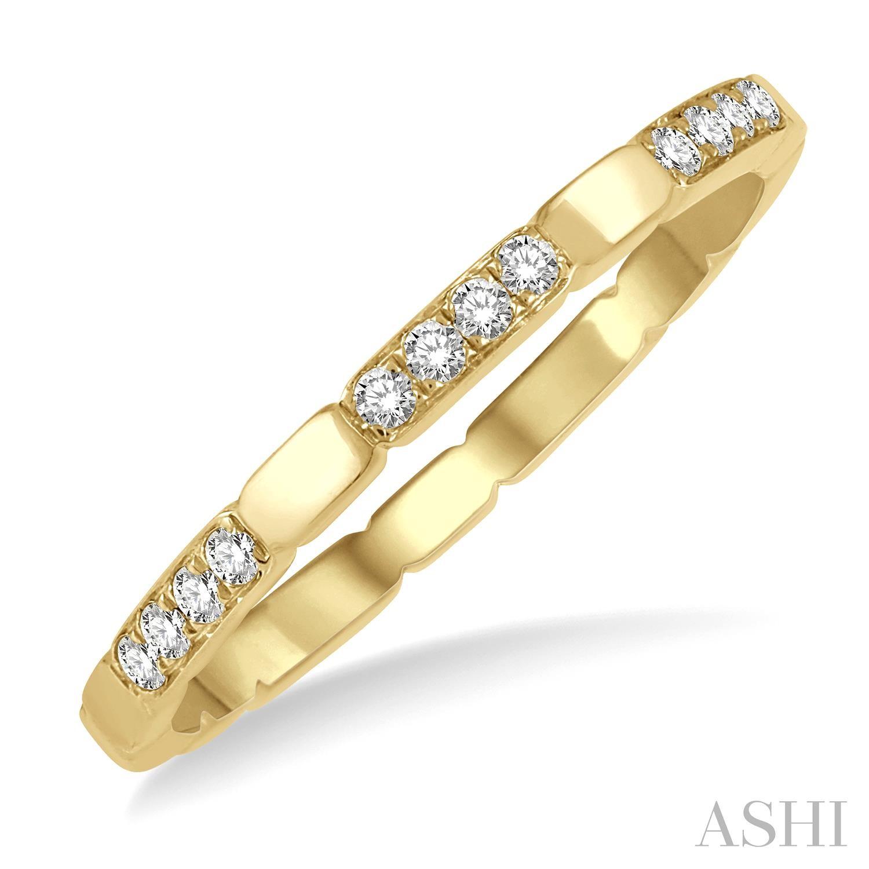 14 Karat Yellow Band With 0.10Tw Round Diamonds Ring Size: 6.5