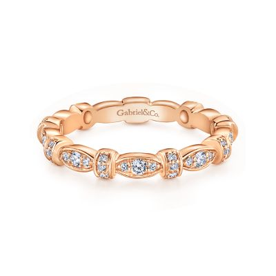Gabriel&Co: 14 Karat Rose Gold Geometric Stackable Diamond Ring .30Tw