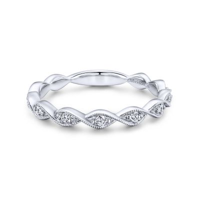 Gabriel&Co: 14 Karat White Gold Twisted Diamond 0.14Tw Stackable Ring