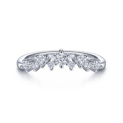 Gabriel&Co: 14 Karat White Gold Curved Diamond Anniversary Band 0.35Tw