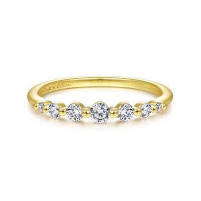 Gabriel&Co: 14 Karat Yellow Gold Diamond Anniversay Band 0.25 Ct