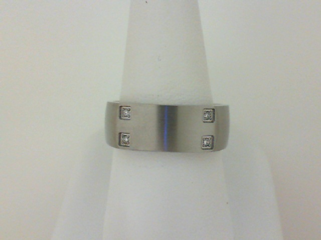 Stainless Steel Band With 4=0.02Tw Round Diamonds
