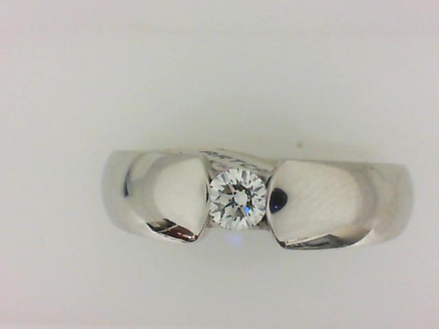 14 Karat White Gold Tension Set Wedding Band With One 0.25Ct Round Diamond