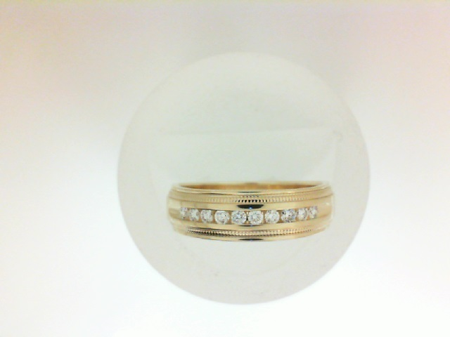 14 Karat Yellow Gold  polished And Milgrain Detail Channel Set Wedding Band With 10=0.25Tw Round Ring Size: 10.25