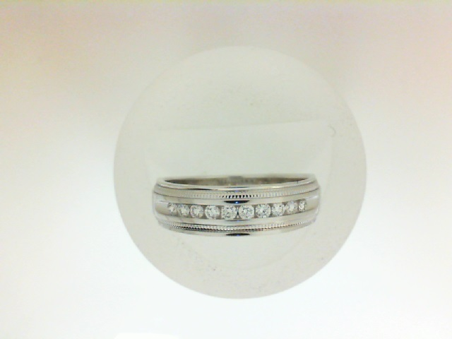 White 14 Karat Wedding Band Wedding Band With 10=0.25Tw Round  Name: MILGRAIN Ring Size: 10