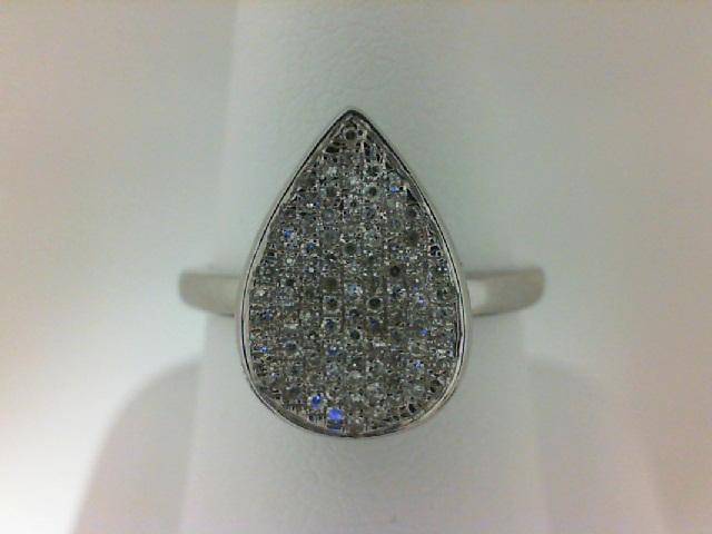 14 Karat White Gold Pear Shape Cluster Fashion Ring With 0.22Tw Round Diamonds Size 7