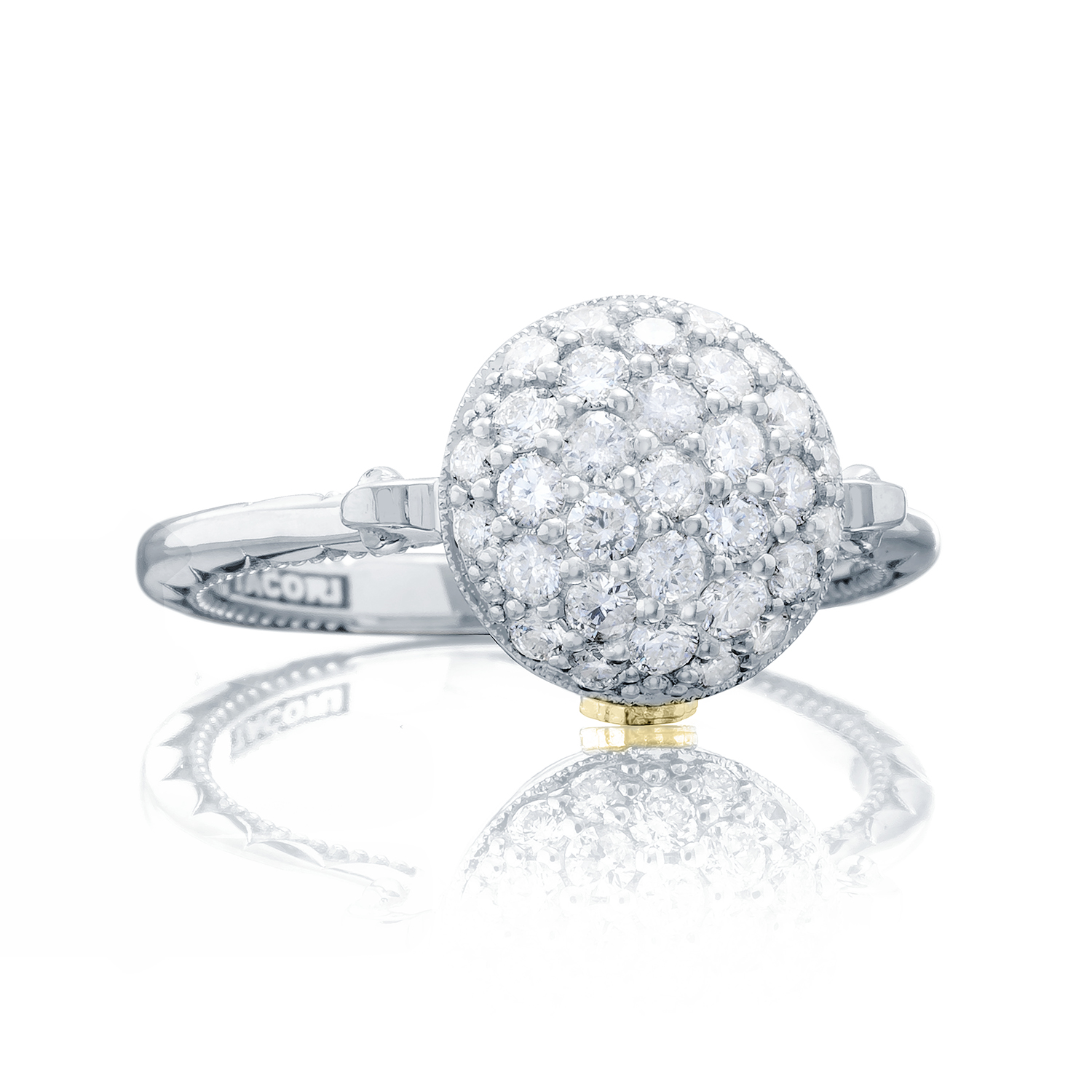 Tacori: Sterling Silver Sonoma Mist Bold Pave Dew Drop Fashion Ring With 0.62Tw Round Diamonds Ring Size: 7