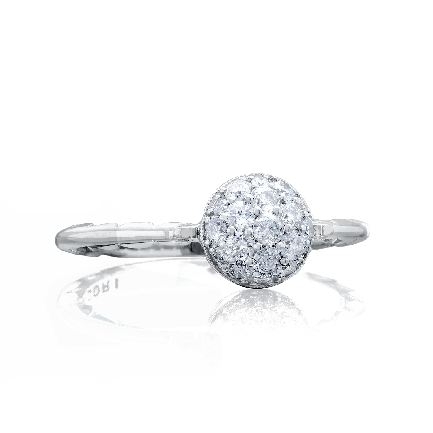 Tacori: Sterling Silver  Sonoma Mist Pave Dew Drop Fashion Ring With 0.40Tw Round Diamonds Ring Size: 7