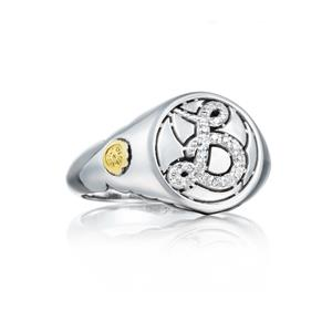 Tacori: Sterling Silver : Love Letters- B Fashion Ring With 0.11Tw Round Diamonds Ring Size: 4.5