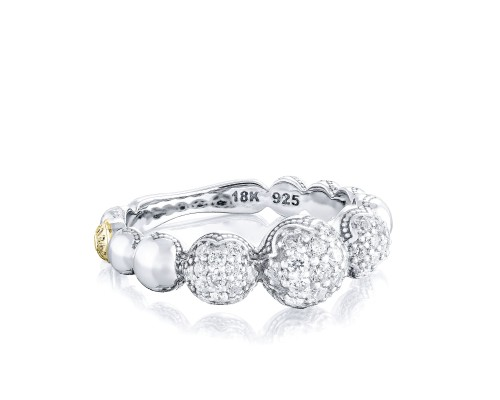 Tacori: 18K/925 Sterling Silver & 18Ky Fashion Ring With 0.46Tw Round Diamonds Sonoma Mist Bold Pavé Cascading Dew Drops Ring
