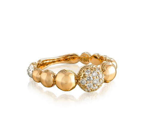 Tacori: 18K/925  Yellow 18 Karat Fashion Ring With 0.24Tw Round Diamonds Name/Details: Pave Cascading Dew Drop
