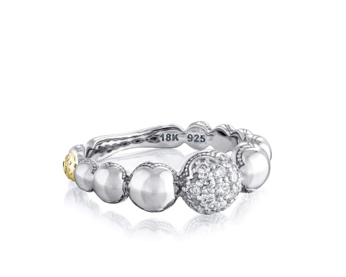 Tacori: 18K/925 Sterling Silver & 18Ky Fashion Ring With 0.24Tw Round Diamonds Name/Details: Pave Cascading Dew Drop