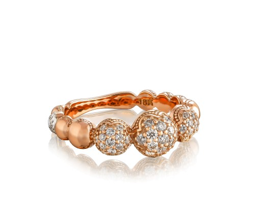 Tacori: 18K/925 18 Karat Rose Gold Fashion Ring With 0.46Tw Round Diamonds Name/Details: Bold Pave Cascading Dew Drop Serial #: 2068316