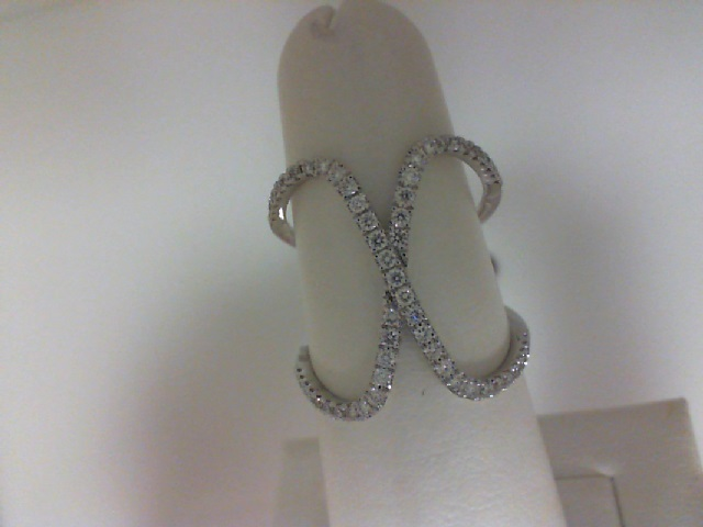 14 Karat White Gold Negative Space Fashion Ring With 59=0.36Tw Round Diamonds Ring Size: 6.5