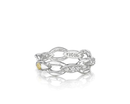 Tacori: Two-Tone Sterling Silver & 18Karat Yellow Goldy Fashion Ring With 0.33Tw Round Diamonds Name: Ivy Lane Pave Crescent Ring Size: 7