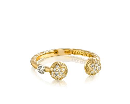 Tacori: 18 Karat Yellow Gold Fashion Ring With 0.17Tw Round Diamonds Name: Sonoma Mist Twin Dew Drop Ring Size: 7