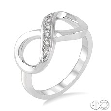 Sterling Silver Infinity Fashion Ring With 0.03Tw Round Diamonds