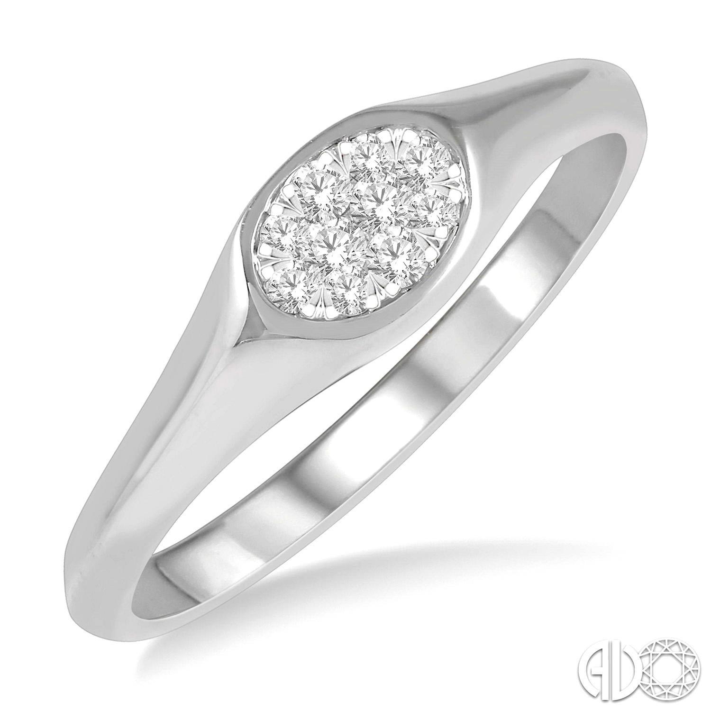14 Karat White Gold Lovebright Ring With 10=0.12Tw Round H/I I1 Diamonds