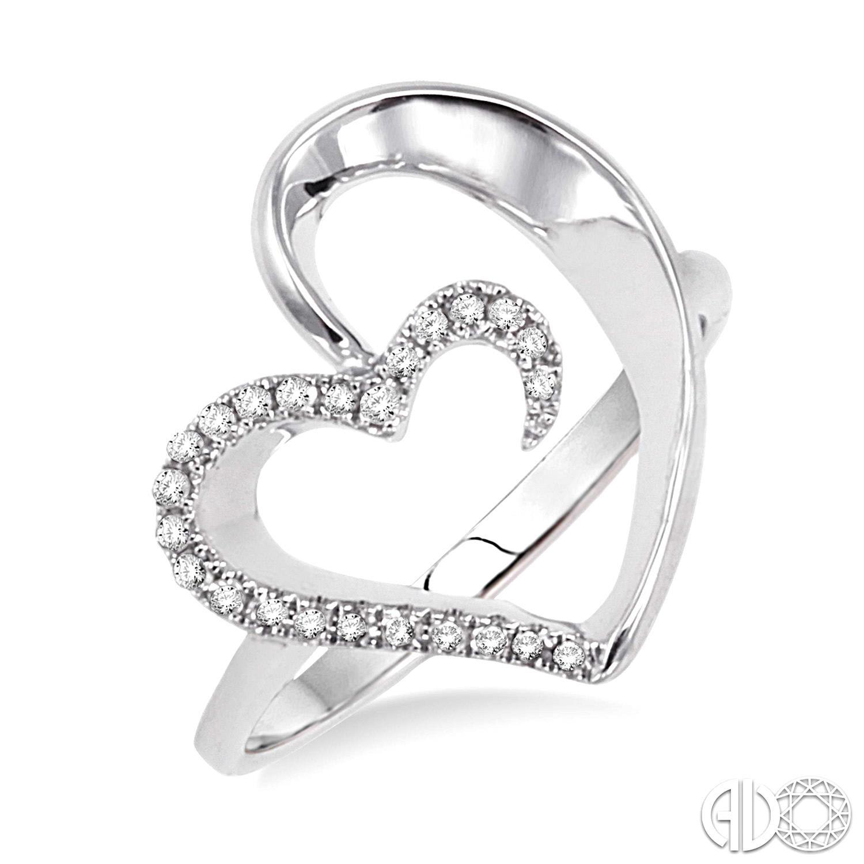 14 Karat White Gold Heart Fashion Ring With 24=0.11Tw Round Diamonds