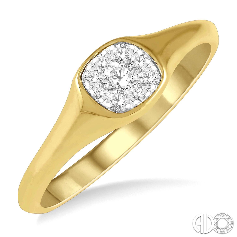 14 Karat Yellow Gold Lovebright Ring With 9=0.15Tw Round Diamonds