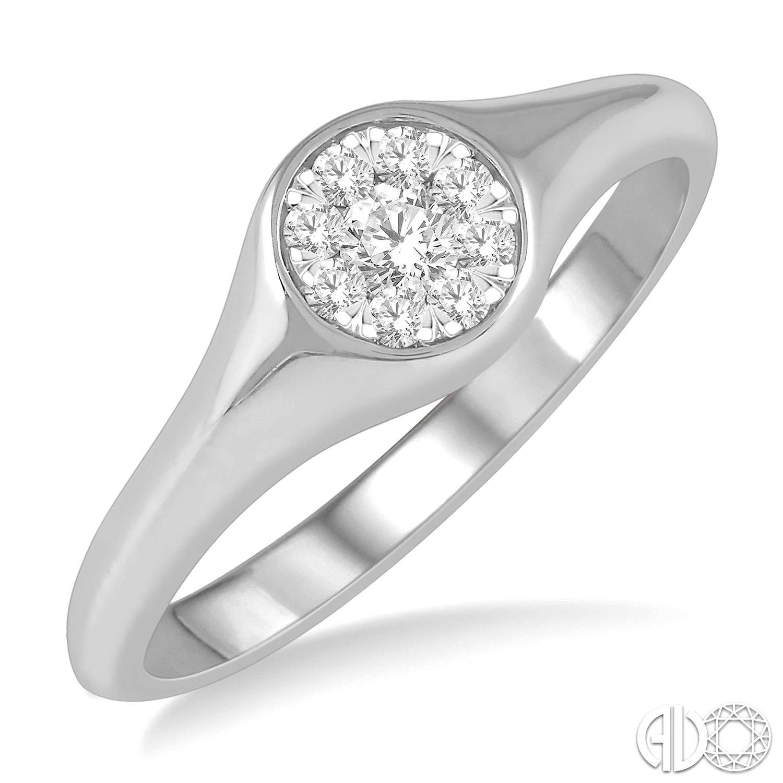 14 Karat White Gold Lovebright Fashion Ring With 9=0.16Tw Round Diamonds