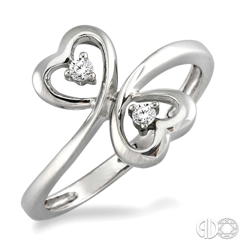 14 Karat White Gold Double Heart Fashion Ring With 2=0.05Tw Round Diamonds
