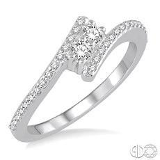 14 Karat White Gold Fashion Ring With 2=0.10Tw Round Diamonds And 0.15Tw Round Diamonds