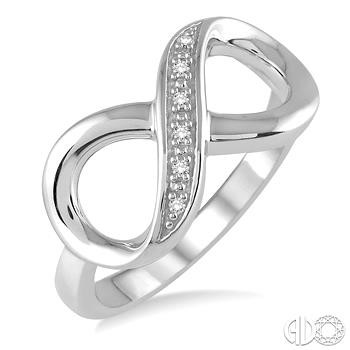 Sterling Silver Infinity Fashion Ring With 0.03Tw Single Cut Diamonds