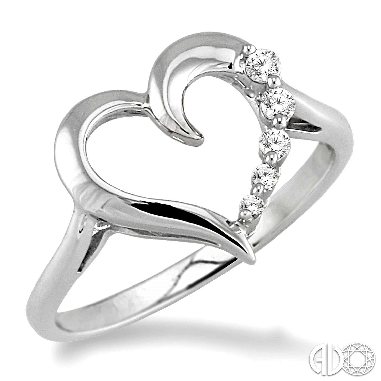 10 Karat White Gold Heart Fashion Ring With 0.08Tw Round Diamonds