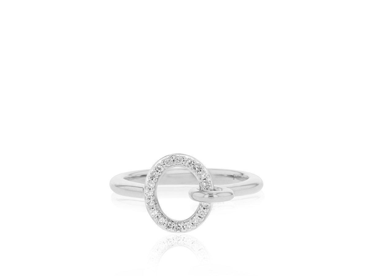 Phillip's House:14 Karat White Gold Double Link Ring With 20=0.13Tw Round Diamonds