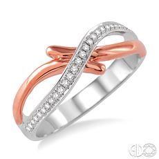 14 Karat White/Rose Gold Fashion Ring With 0.15Tw Round Diamonds